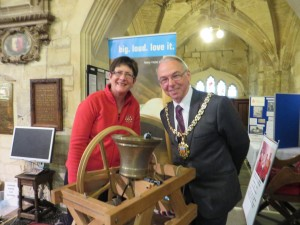 Liz Coke & the Mayor looking at the model bell