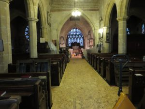 The church floor boarded out